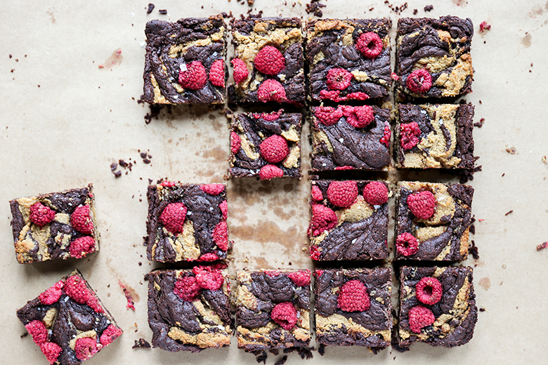 Chocolate Peanut Butter Brownies with Raspberries