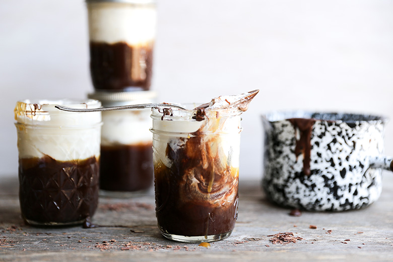 Baileys Chocolate Mousse with Whiskey Caramel Sauce and Whipped Cream | www.floatingkitchen.net