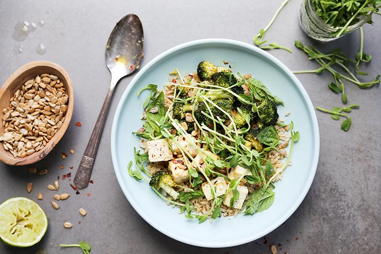 Roasted Chili Basil Lime Tofu Bowls