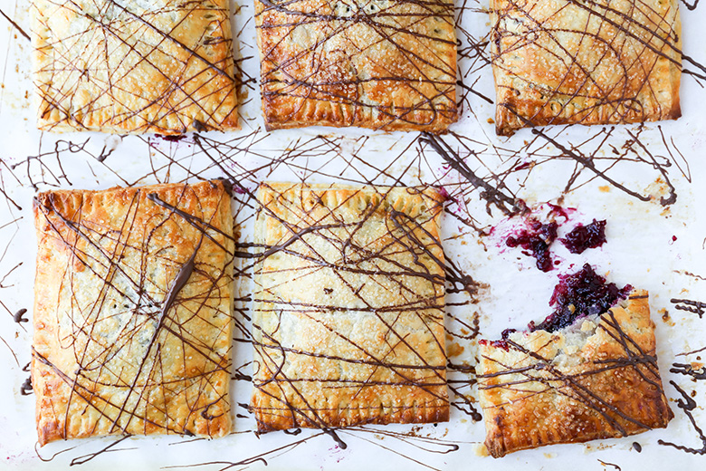 Rhubarb-Berry Hand Pies with Chocolate