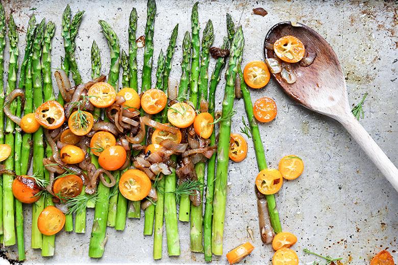 Roasted Asparagus with Sautéed Shallots and Kumquats