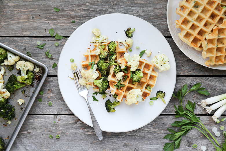Savory Waffles with Roasted Broccoli and Cauliflower