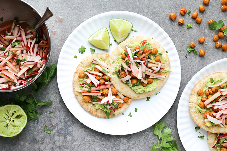Chickpea and Avocado Pita Tostadas with Rhubarb-Radish Slaw