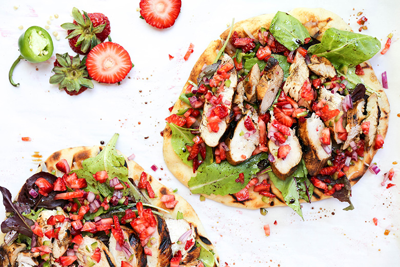 Grilled Balsamic Chicken Salad Pizza with Fresh Strawberry Salsa