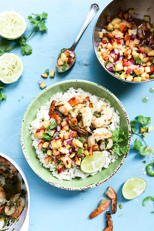 Spicy Grilled Shrimp with Coconut Lime Rice and Peach Salsa | www.floatingkitchen.net