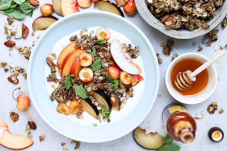 Summer Stone Fruit and Yogurt Breakfast Bowls with Hot Sauce-Honey and Nutty Granola