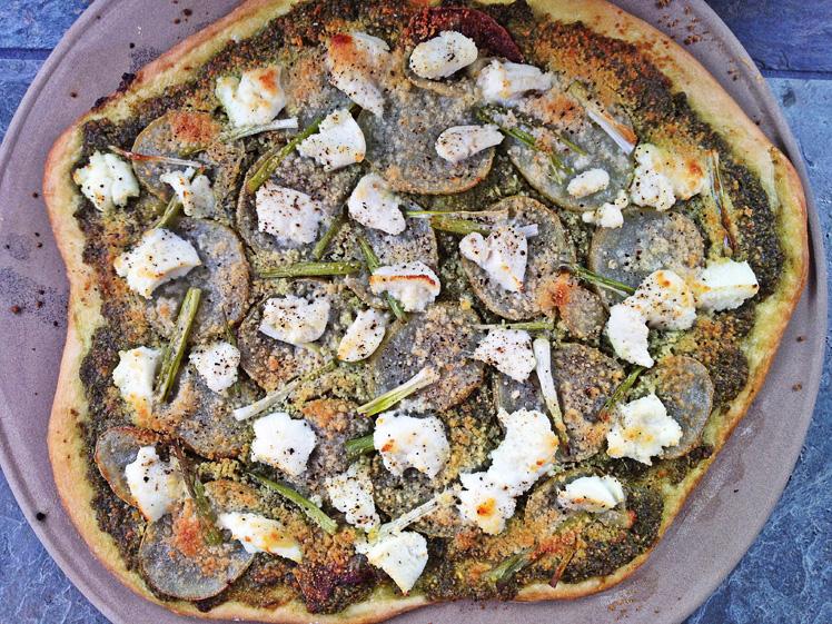 Potato Pizza with Arugula-Garlic Scape Pesto