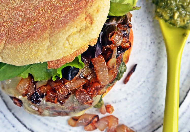 Roasted Portobello Sandwiches with Shallots and Sharp Cheddar