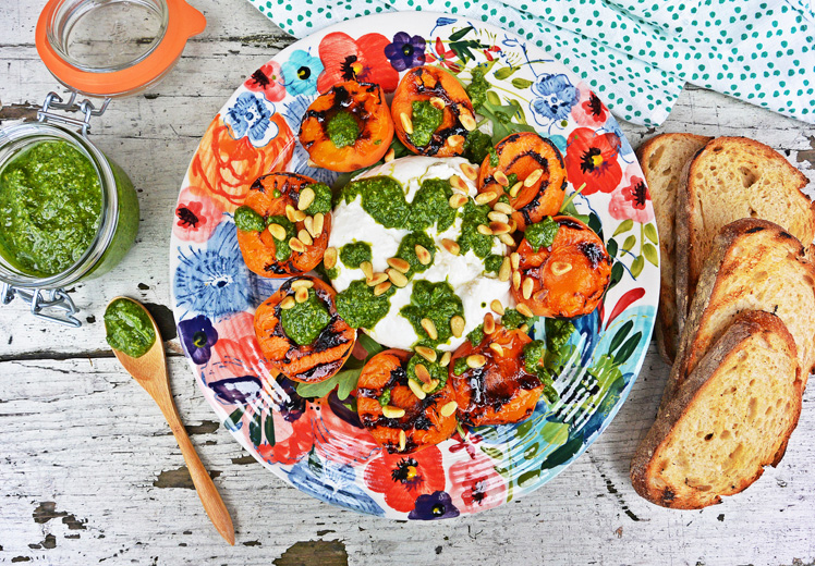 Burrata Salad with Grilled Apricots and Basil Pesto