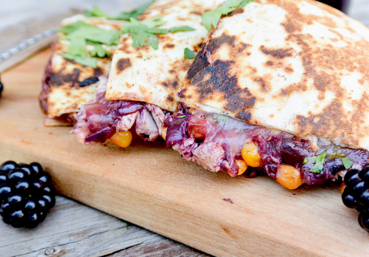 Blackberry-Chipotle BBQ Chicken Quesadillas