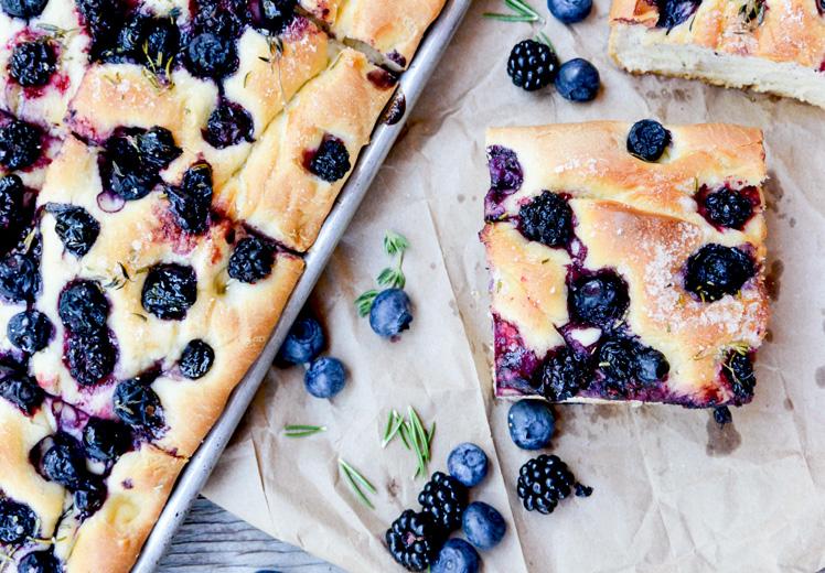 Blueberry-Blackberry Herbed Focaccia