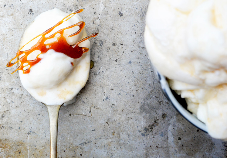 Sour Cream Ice Cream with Apple Cider Syrup