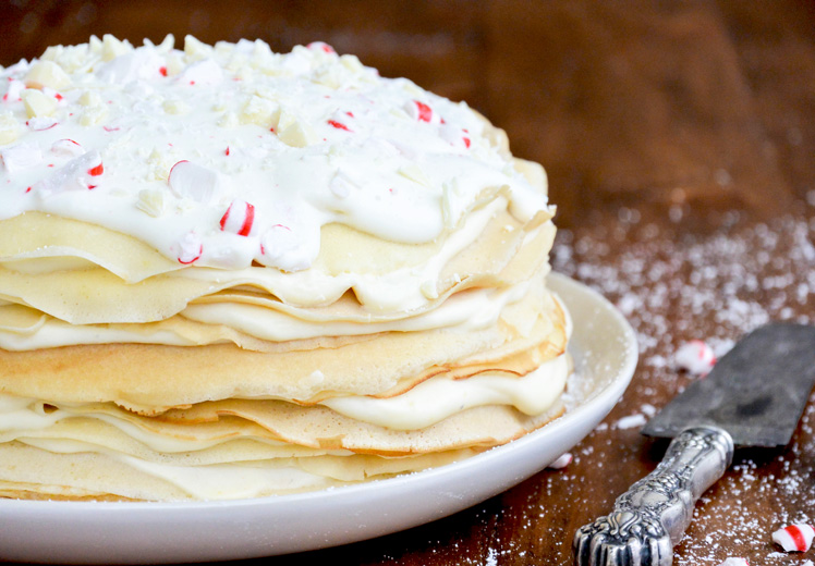 White Chocolate and Peppermint Crêpe Cake