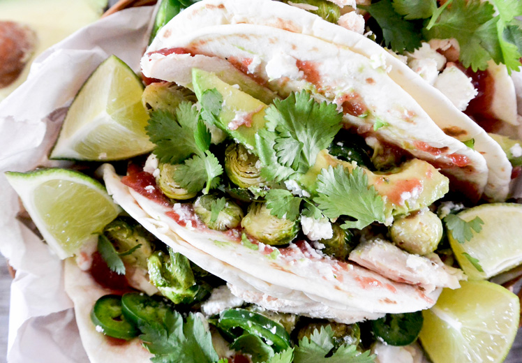 Turkey Tacos with Brussels Sprouts and Cranberry Sauce