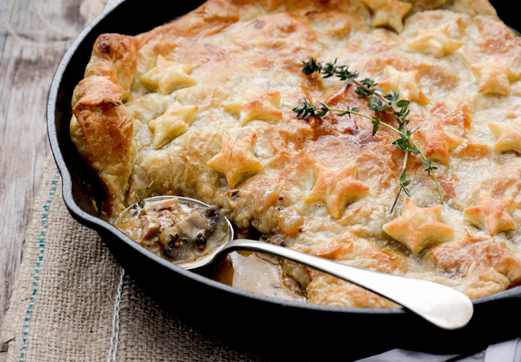 Skillet Chicken and Mushroom Pot Pie