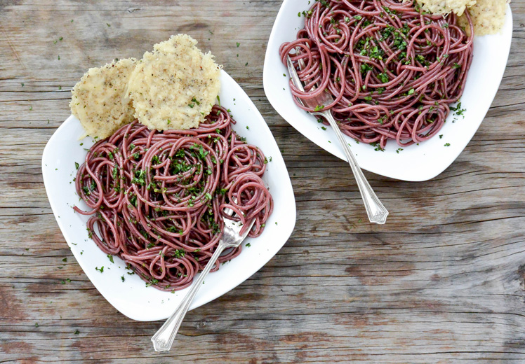 Red Wine Spaghetti with Black Pepper Parmesan Crisps