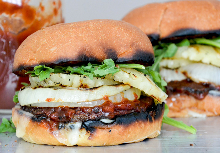 Barbecue Portobello Mushroom Burgers with Grilled Onions and Pineapple