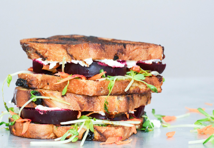 Beet and Whipped Feta Grilled Cheese