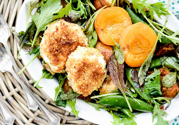 Crusted Goat Cheese Spring Panzanella Salad