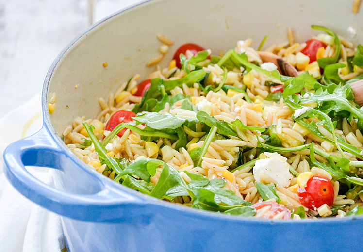 Orzo Salad with Roasted Corn and Zucchini
