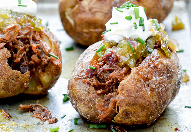 Baked Potatoes with Shredded Barbecue Beef and Tomatillo Jam