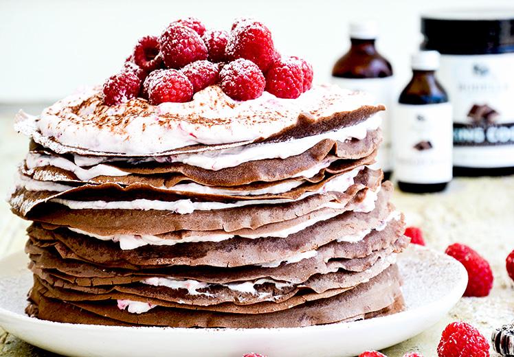 Chocolate-Raspberry Cream Crêpe Cake