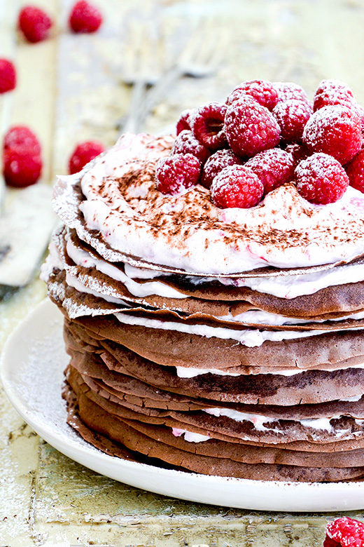 Chocolate-Raspberry Cream Crepe Cake | www.floatingkitchen.net