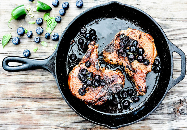 Thick Cut Pork Chops with Blueberry Salsa