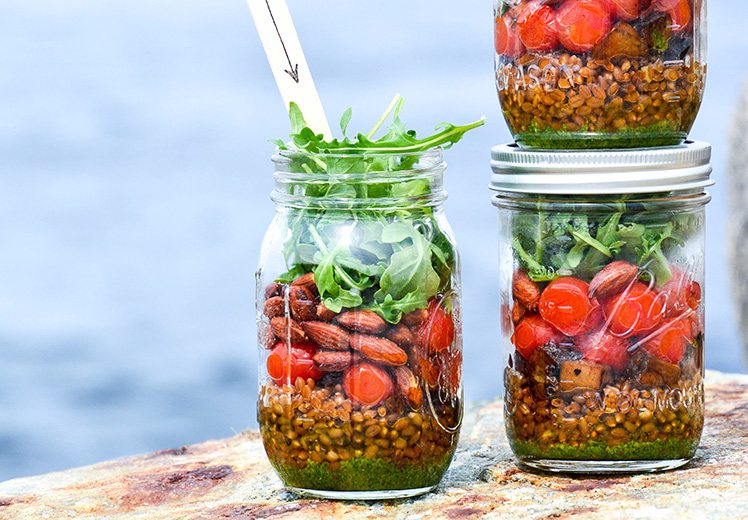 Wheat Berry and Blistered Tomato Mason Jar Salads with Basil-Almond Pesto