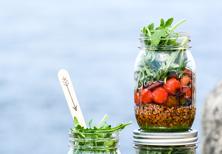Wheat Berry and Blistered Tomato Mason Jar Salads with ...
