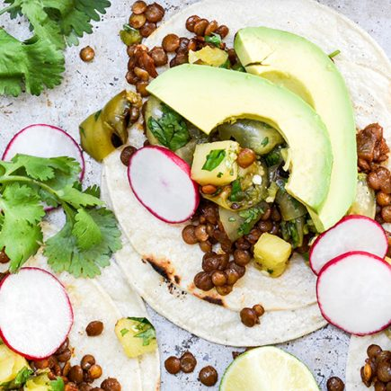 Lentil Tacos with Grilled Pineapple-Tomatillo Salsa | www.floatingkitchen.net