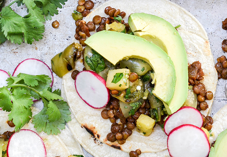 Lentil Tacos with Grilled Pineapple-Tomatillo Salsa