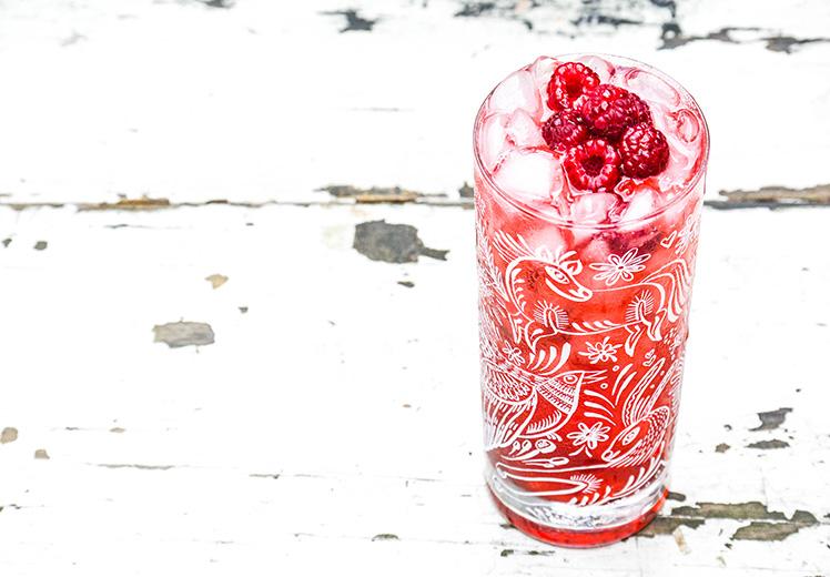 Raspberry and Brown Sugar Bourbon Fizz