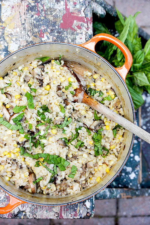 Baked Corn, Mushroom and Sausage Risotto | www.floatingkitchen.net