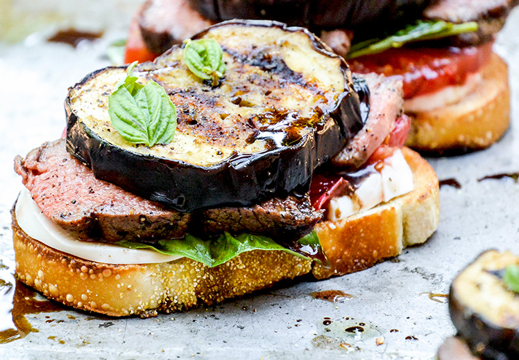 Grilled Tenderloin and Eggplant Open-Faced Caprese Sandwiches