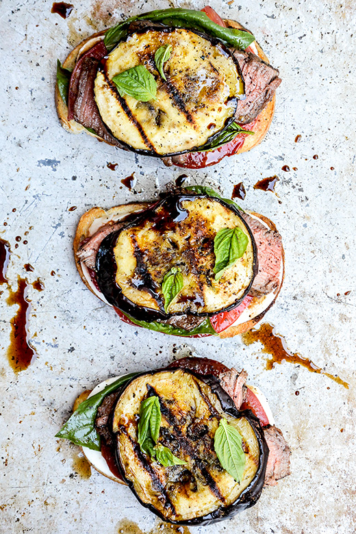 Grilled Tenderloin and Eggplant Open-Faced Caprese Sandwiches | www.floatingkitchen.net