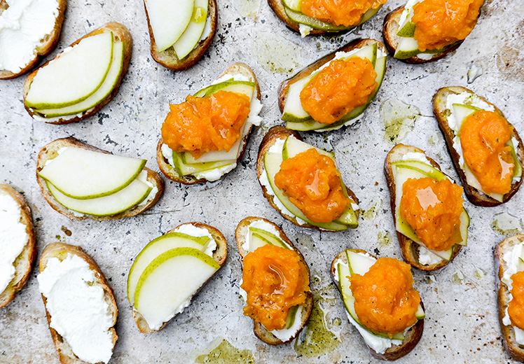 Butternut Squash, Pear and Ricotta Bruschetta with Sage Oil