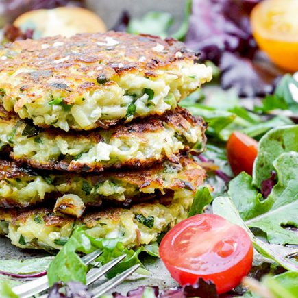 Cauliflower-Apple Fritters with Mixed Greens | www.floatingkitchen.net