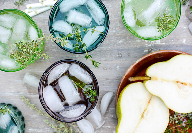Champagne-Elderflower Cocktail with Pear and Thyme