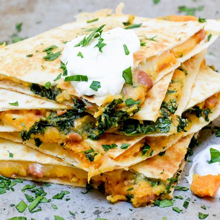 Sweet Potato, Pinto Bean and Kale Quesadillas | www.floatingkitchen.net