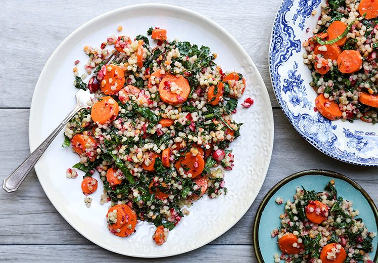 Wilted Kale and Couscous Salad with Carrots and Cranberries | www.floatingkitchen.net
