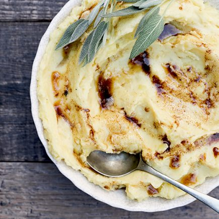 Mascarpone Mashed Potatoes with Sage Browned Butter | www.floatingkitchen.net