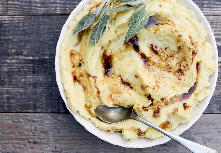 Mascarpone Mashed Potatoes with Sage Browned Butter
