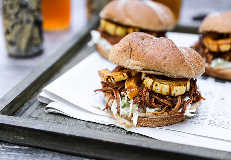 Shredded Pomegranate-Barbecue Pork Sandwiches with Roasted Squash and Coleslaw