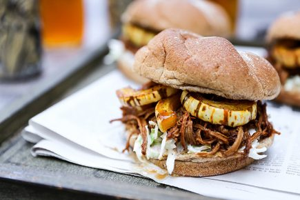 Shredded Pomegranate-Barbecue Pork Sandwiches with Roasted Squash and Coleslaw | www.floatingkitchen.net
