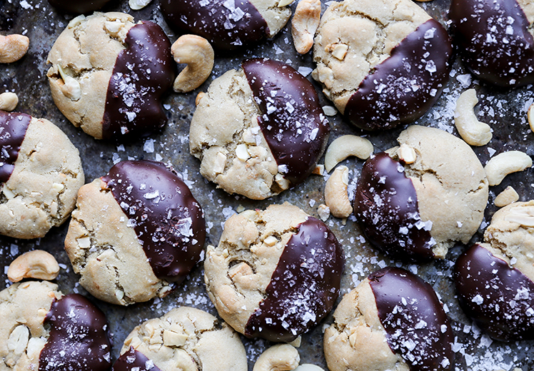 Chocolate-Dipped Salted Cashew Cookies