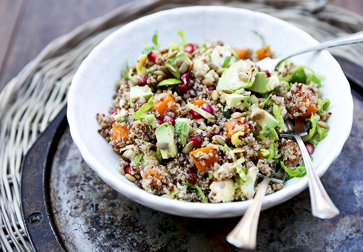 Quinoa and Brussels Sprout Salad with Roasted Butternut Squash, Cauliflower, Avocado and Pomegranate