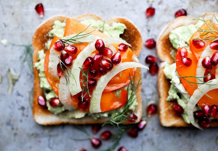 Avocado Toast with Persimmon, Pomegranate and Fennel | www.floatingkitchen.net