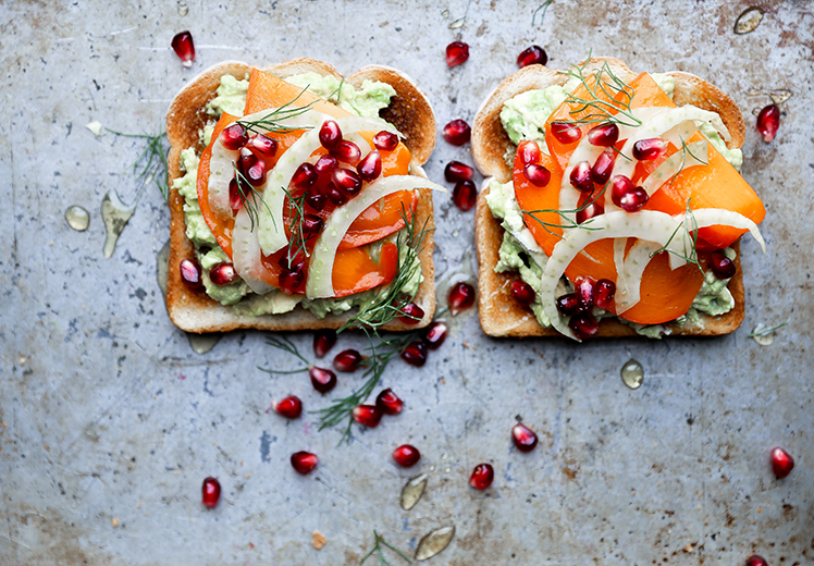 Avocado Toast with Persimmon, Pomegranate and Fennel
