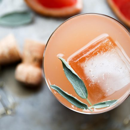 Grapefruit and Sage Champagne Cocktails | www.floatingkitchen.net